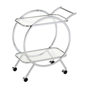 Silver Round Side Drinks Trolley