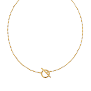 Yellow Gold Plated Ball Fob Chain Necklace