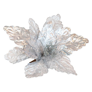 Clip on Poinsettia Shiny Silver