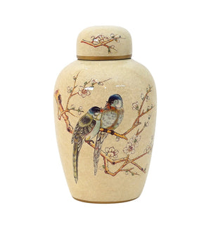 Cream Bird on Branch Ginger Jar