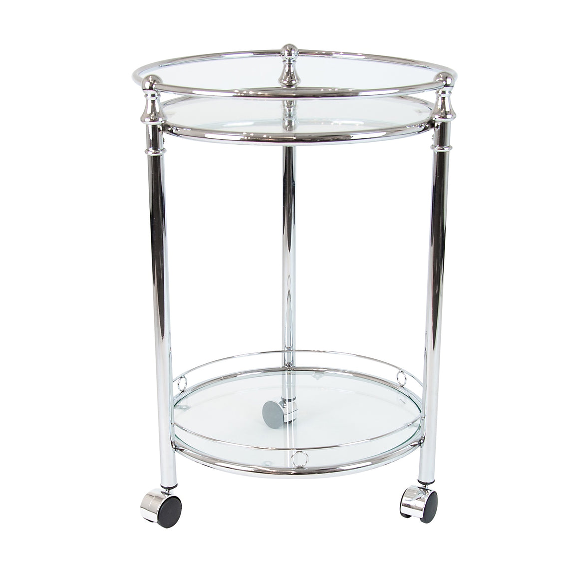 Silver Bar Trolley Clear Glass Round