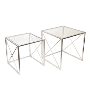 Tora Silver Square Side Table Set of 2