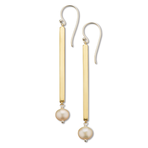 Pearl Rod Brass Earrings