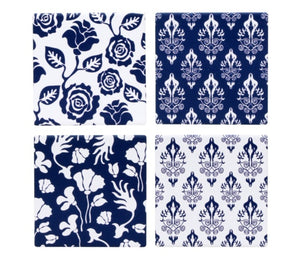 Blue & White Floral Coasters Set of 4