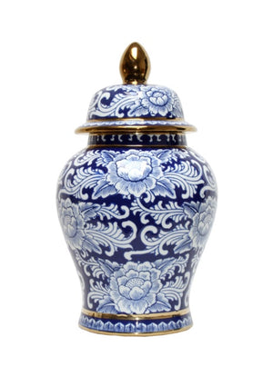 Blue & White Indo Temple Jar
