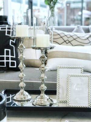 Silver Bamboo Style Candlestick
