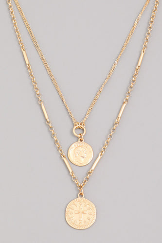 Gold Layered Coin Choker Necklace