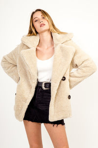 Beige Oversized Button Down Coat
