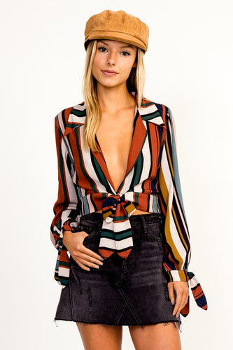 Multi Stripe Long Sleeve Tie Crop Top