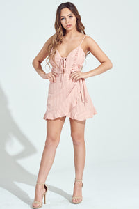 Peach Ruffled Lace Up Wrapped Mini Dress