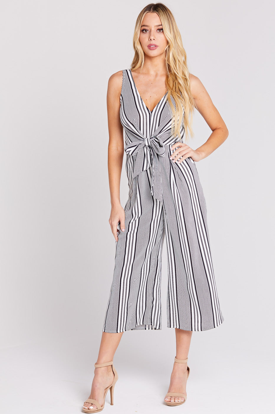 Black & White Stripe Waist Tie Jumpsuit