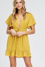 Load image into Gallery viewer, Mustard Ruffle Mini Dress