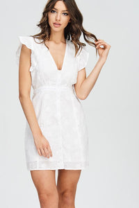 White Ruffle Eyelet Mini Dress