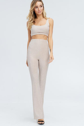 Nude 2 Piece Glitter Crop Top and Pants Set