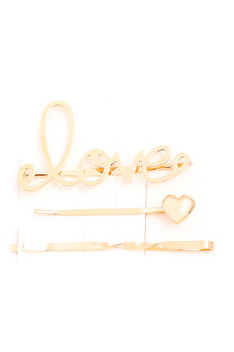 Love Assorted Gold Set Bobby Pins
