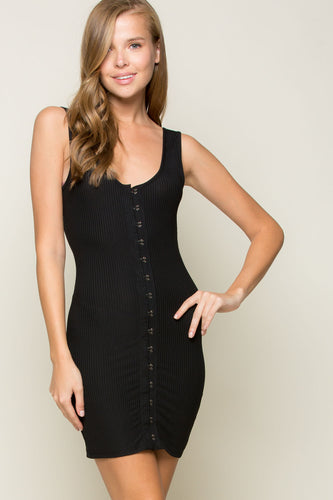 Black Bodycon Ribbed Dress