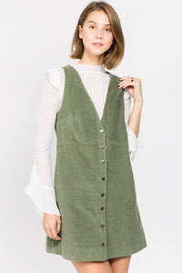 Olive Corduroy Button Front Dress