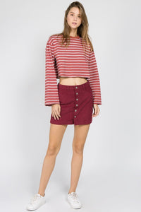 Wine Button Down Skirt