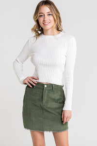 Ivory Ribbed Back Cutout Long Sleeve