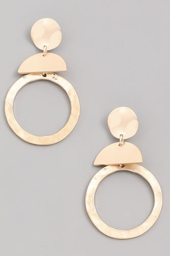 Gold Metallic Geo Drop Earrings