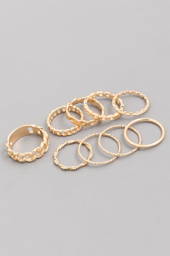 Gold Assorted Textured Rings