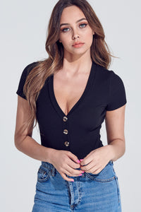Black Button Up Bodysuit