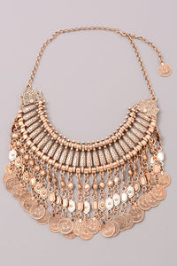 Bronze Coin Statement Necklace