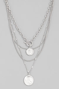 Silver Layered Coin Choker Necklace