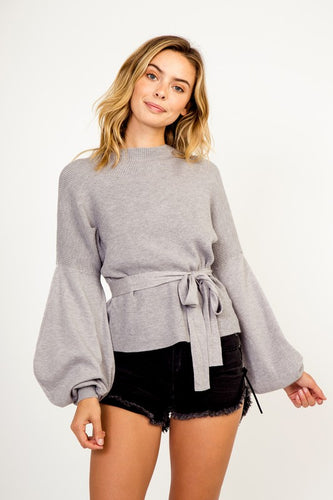 Gray Bell Sleeve Tie Sweater