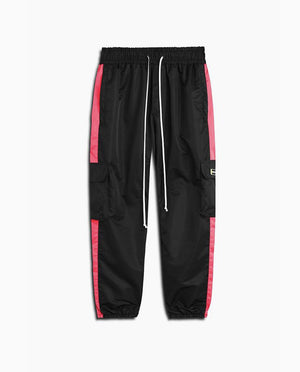 Cargo Parachute Track Pant | Black + Wildflower Pink