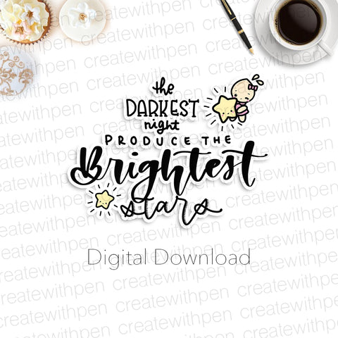Digital: Brightest Stars Quote/Script with Tinta