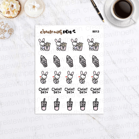 B013 | Cheat Day and Junk Food Bella | Planner Stickers