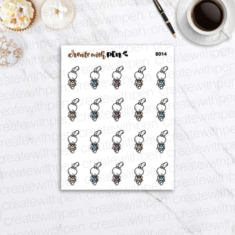 B014 | Bella and cute backpack | Planner Stickers