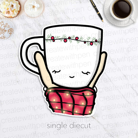DIECUT: Cute Christmas Mug | Planner Decoration