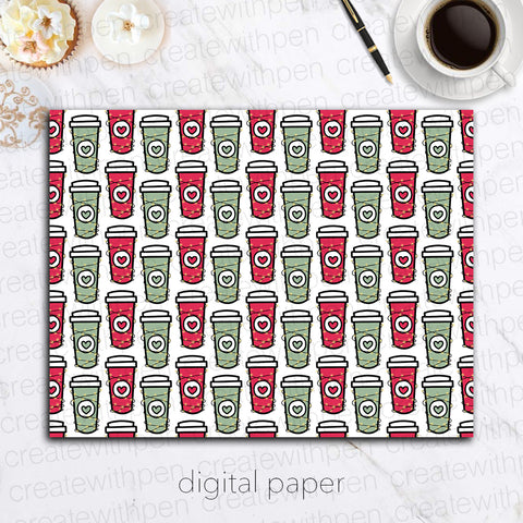 Digital Paper: Christmas Cups