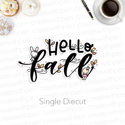 DIECUT: HELLO FALL script with Tinta | Planner Decoration