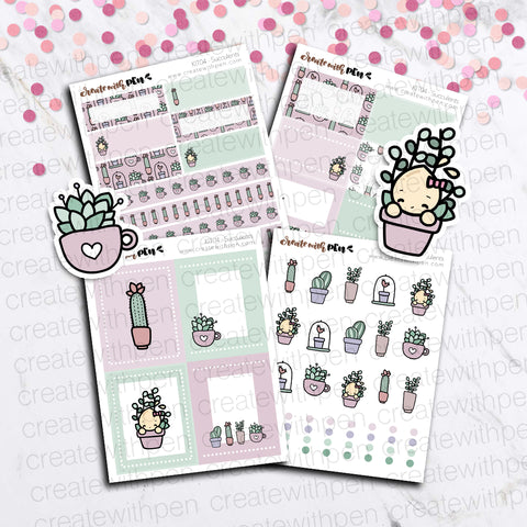 KIT04(EC) - Succulents | Tinta Planner Stickers | Mini Sticker Kits