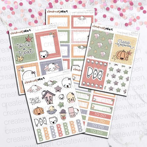 KIT05(EC) - Halloween | Tinta Planner Stickers | Mini Sticker Kits