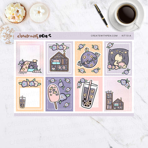 KIT10 (EC) - Midnight Flowers | Planner Sticker Mini Kit