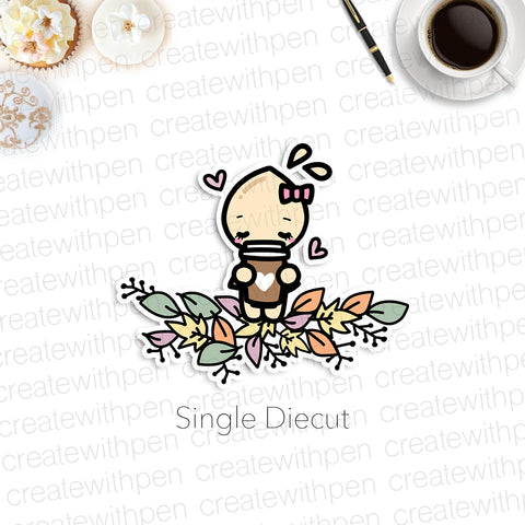 DIECUT: Tinta in Leaves with Cup | Planner Decoration