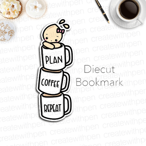 DIECUT Bookmark: Stacked Coffee Cups with Tinta | Planner Decoration