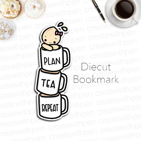 DIECUT Bookmark: Stacked Tea Mugs with Tinta | Planner Decoration