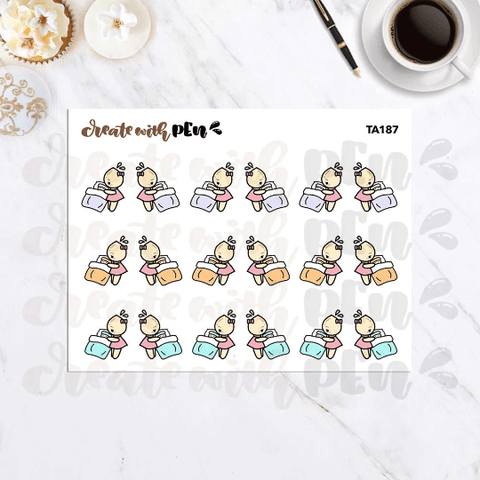 TA187 | Attending Sick Child | Tinta | Planner Stickers