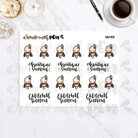 TA193 | Christmas Shopping | Tinta | Planner Stickers