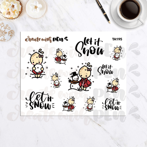 TA195 | Tinta and Snowman | Tinta | Planner Stickers