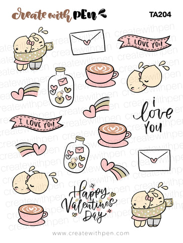 TA204 | I Love YOU | Tinta | Planner Stickers