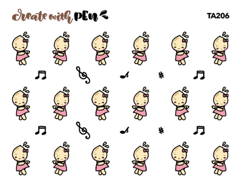 TA206 | It's Music Time | Tinta | Planner Stickers