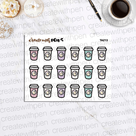 TA213 | Colourful coffee cups | Tinta | Planner Stickers