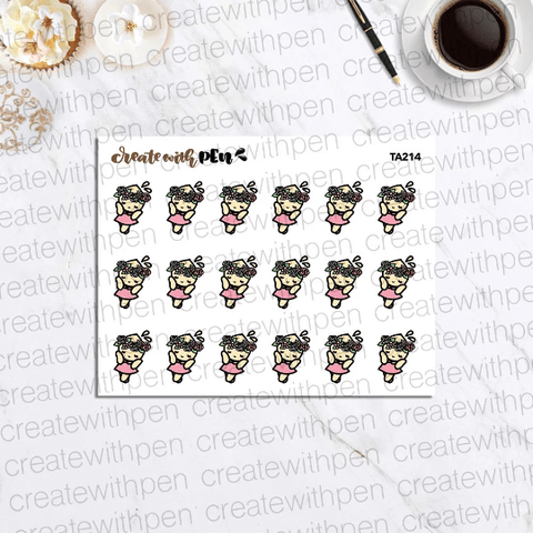 TA214 | Tinta wears floral crown | Planner Stickers