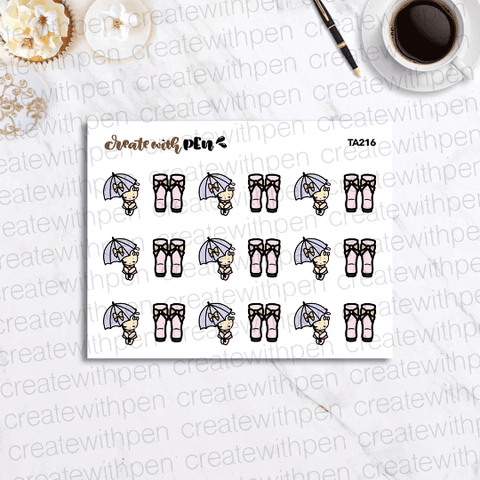 TA216 | Tinta with umbrella and rain boots | Planner Stickers